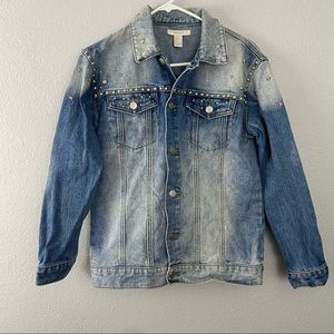 Forever 21 XXI Star Studded Blue Wash Denim Jacket